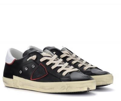 Laterale Sneaker Philippe Model Paris X in pelle nera con spoiler bianco