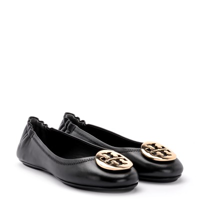 Laterale Tory Burch Ballerina Minnie Travel in Schwarzem Nappaleder und Gold