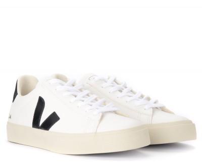 Laterale Veja Herren Sneaker Campo Chromefree in Leder Weiß und Schwarz