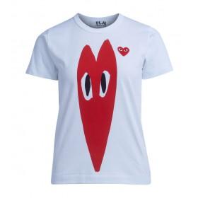 Comme Des Garçons T-Shirt Play Weiss mit Herz