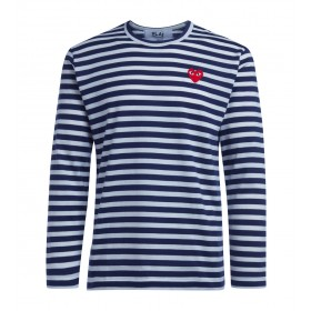 Comme Des Garçons Herren T-Shirt PLAY Streifenmuster