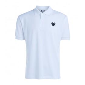 Polo Comme Des Garçons PLAY Weiß mit schwarzem Herz