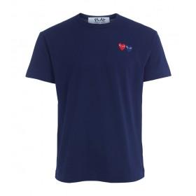 T-Shirt Comme Des Garçons PLAY Blau mit doppeltem Herz