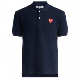 Comme Des Garcons Polo-Shirt Play Marineblau mit rotem Herz