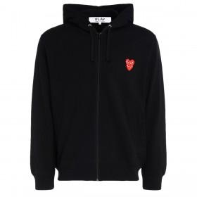 Comme Des Garçons Herren Sweater PLAY Schwarz mit Kapuze und übereinanderliegenden Herzen