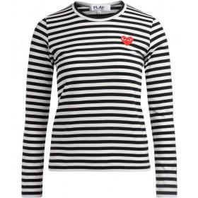 Comme des Garçons T-Shirt Play Rundhalsausschnitt mit Schwarz-Weißen Streifen