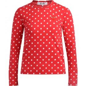 Comme Des Garçons T-Shirt Play in Rot mit Weißen Pois