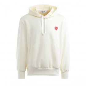 Comme Des Garçons Sweatshirt Play in Elfenbeinfarbe mit Rotem Herz