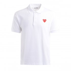 Comme Des Garcons PLAY Polo in Weiss mit Rotem Herz