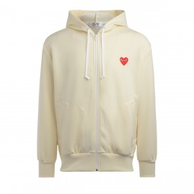 Comme Des Garçons PLAY Herren Sweatshirt in Elfenbeinfarbe mit Rotem Herz