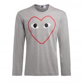Comme Des Garçons PLAY Herren Langärmeliges Graues T-Shirt mit Herz-Print