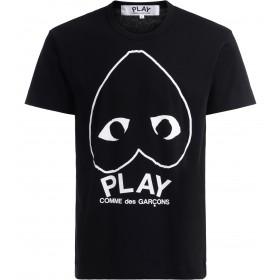 T-Shirt Comme Des Garçons PLAY in schwarzer Baumwolle mit großem Herz