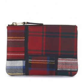 Comme des Garçons Etui Wolle Tartan Patchwork Muster Rot