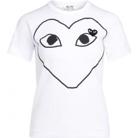 Damen T-Shirt Comme Des Garçons PLAY Weiss mit Schwarzem Herz