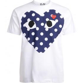 Herren T-Shirt Comme Des Garçons PLAY Weiss mit blauem Herz mit Punkten