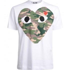 T-Shirt Comme Des Garçons PLAY Weiss mit Camouflage-Herz