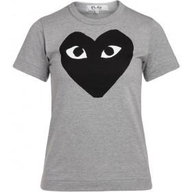 Comme Des Garçons T-Shirt PLAY Grau mit Schwarzem Herz