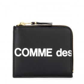 Comme Des Garçons Portemonnaie Wallet Huge Logo in Leder Schwarz Reißverschluss L-förmig