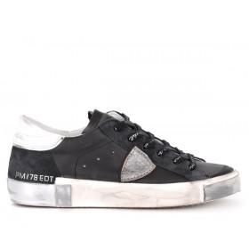 Sneaker Philippe Model Paris X in Leder und Veloursleder Schwarz und Silber
