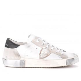 Philippe Model Sneaker Paris X in weißem Leder und Veloursleder mit schwarzem Spoiler