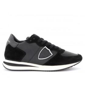 Philippe Model Sneaker Tropez X in schwarzem Leder und Veloursleder