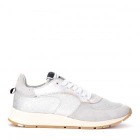 Philippe Model Sneaker Montecarlo aus Leder und Silberglitzer
