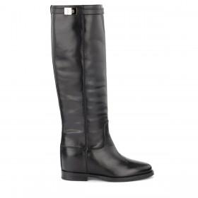 Via Roma 15 Stiefel in schwarzem Glattleder mit silbernem Drehverschluss
