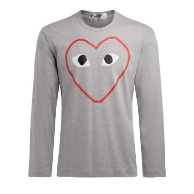 T-Shirt Comme Des Garçons PLAY manica lunga grigia con stampa cuore vuoto
