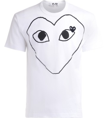 T-Shirt Comme Des Garçons PLAY in cotone bianco con cuore frontale