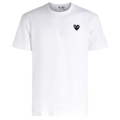 T-shirt uomo Comme des Garçons Play bianca con cuore nero