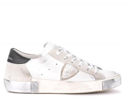 Sneaker Philippe Model Paris X in pelle e suede bianco con spoiler nero