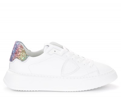 Sneaker Philippe Model Temple in pelle bianca e glitter