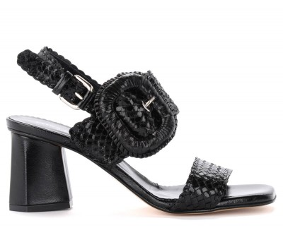 Sandalo con tacco Pons Quintana Bristol in pelle intrecciata nera