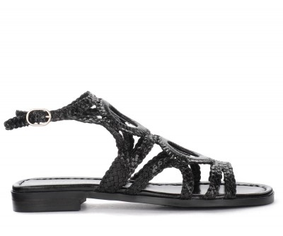 Sandalo basso Pons Quintana in pelle intrecciata nera