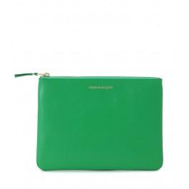 Pochette Comme des Garçons en cuir vert avec glissière dorée