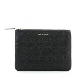 Pochette Comme des Garçons wallet en cuir de veau noir avec impression d'étoiles