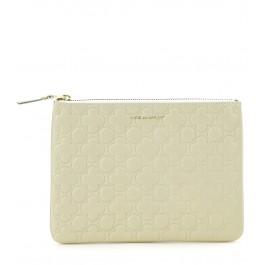 Pochette Comme des Garçons wallet en cuir blanc