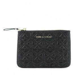 Pochette Comme des Garçons wallet en cuir imprimé noir