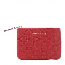 Pochette Comme des Garçons wallet en cuir de veau imprimé couleur rouge