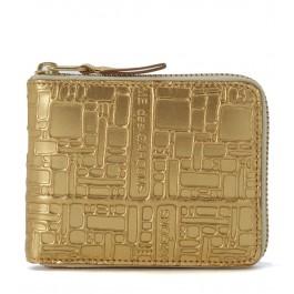 Portefeuille Wallet Comme Des Garçons en cuir or imprimé