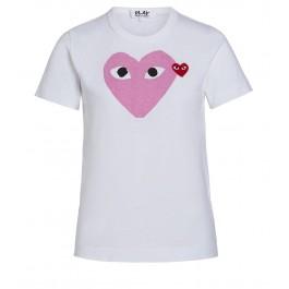 T-shirt Play by Comme des Garçons blanche avec cœur rose