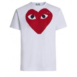T-shirt Play by Comme des Garçons blanche avec cœur rouge aux yeux noirs
