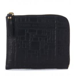 Pochette Wallet Comme Des Garçons en cuir noir imprimée