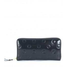 Portefeuille Comme des Garçons Wallet en cuir de veau noir avec impression de style bulle
