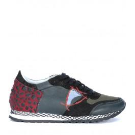 Sneaker Philippe Model Special Resau en cuir gris froncé