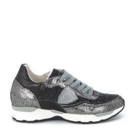 Sneaker Philippe Model City Bas en tweed gris metallique et noir