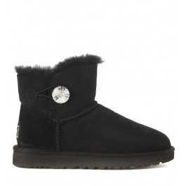 Demi-botte Ugg Classic II Mini Bailey Button en suede noir