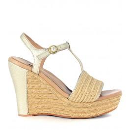 Sandale compensée UGG Fitchie en cuir doré et raphia beige