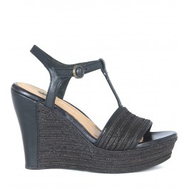 Sandale compensée UGG Fitchie en cuir et raphia noir