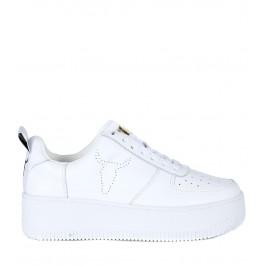 Sneaker Windsor Smith Racerr en cuir blanc et talon compensé